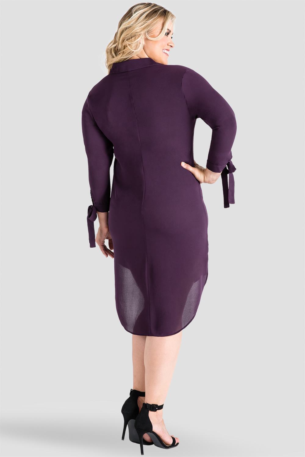 Plus-Size Standards & Practices Women's Tie-Sleeve Collared Purple Shirtdress