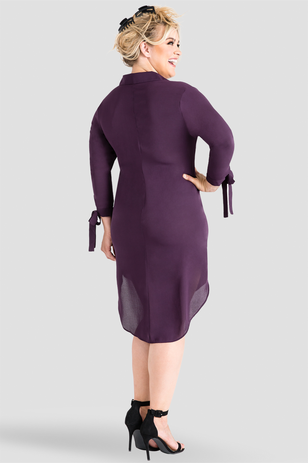 Plus-Size Standards & Practices Purple Tie-Sleeve Shirtdress