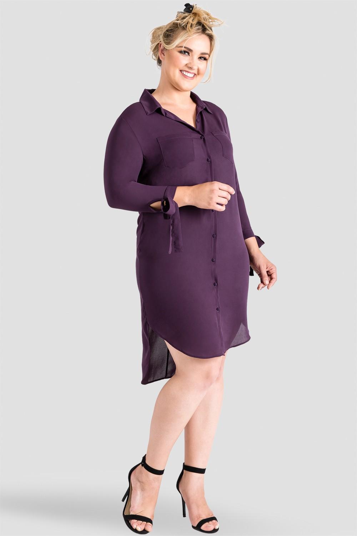 Plus-Size Button-Down Purple Shirtdress