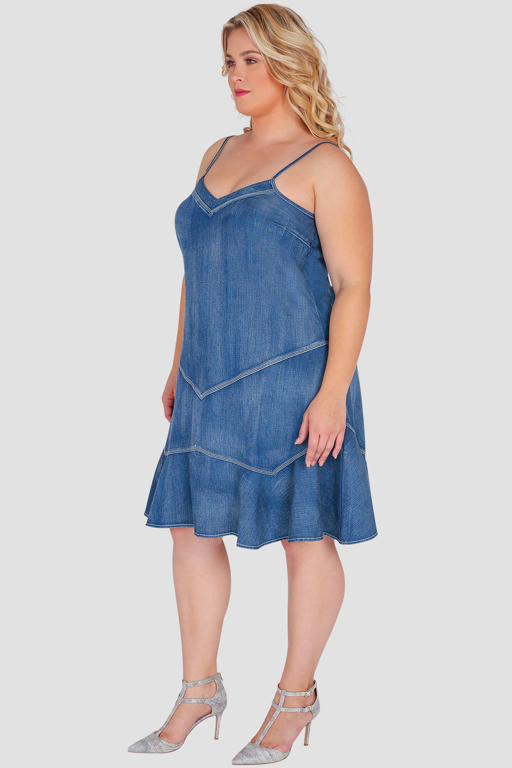 Standards & Practices Plus Size Women's Ruffled Denim Dress with Thin Straps