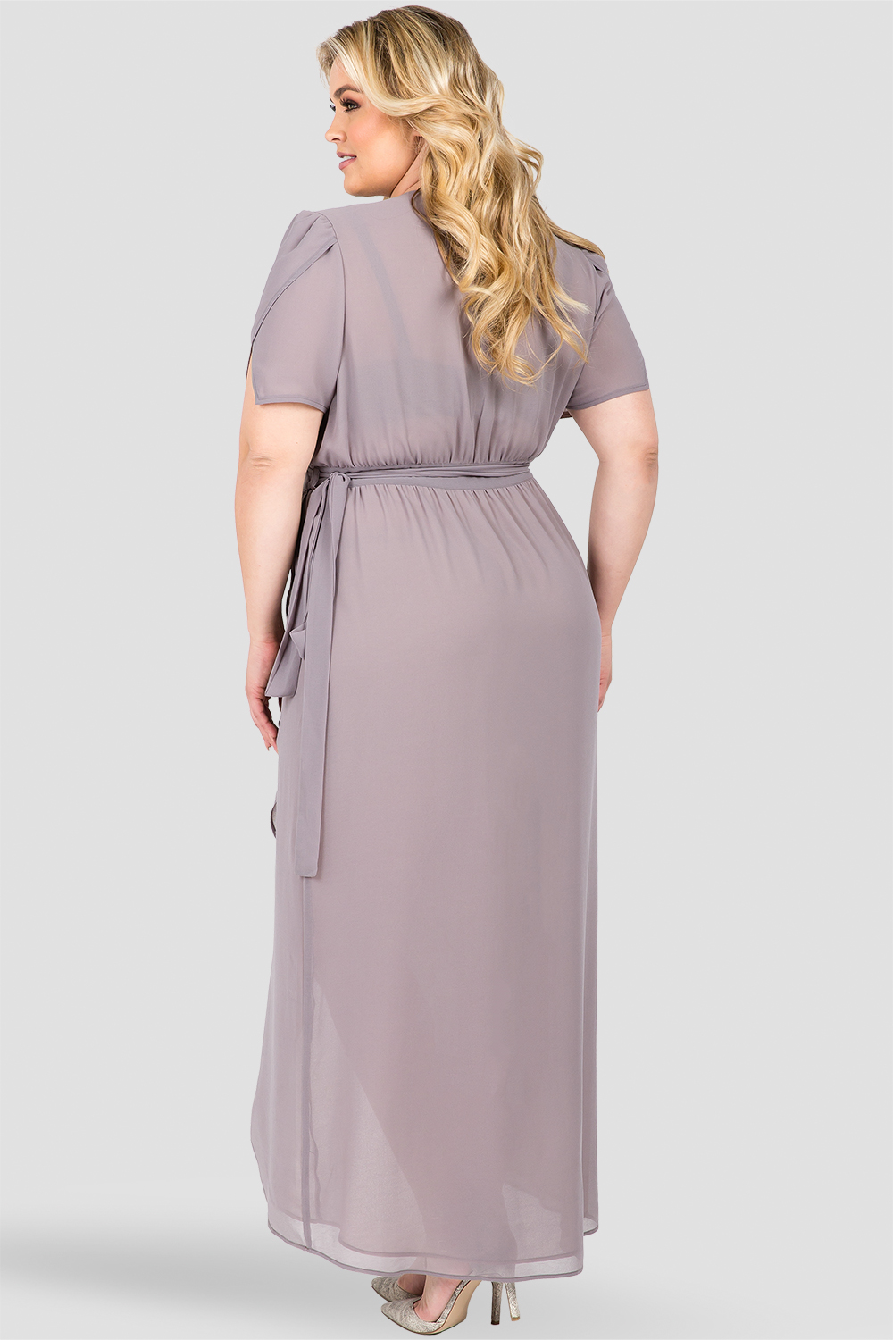 Plus Size Dark Grey V-Neck Wrap Maxi Dress