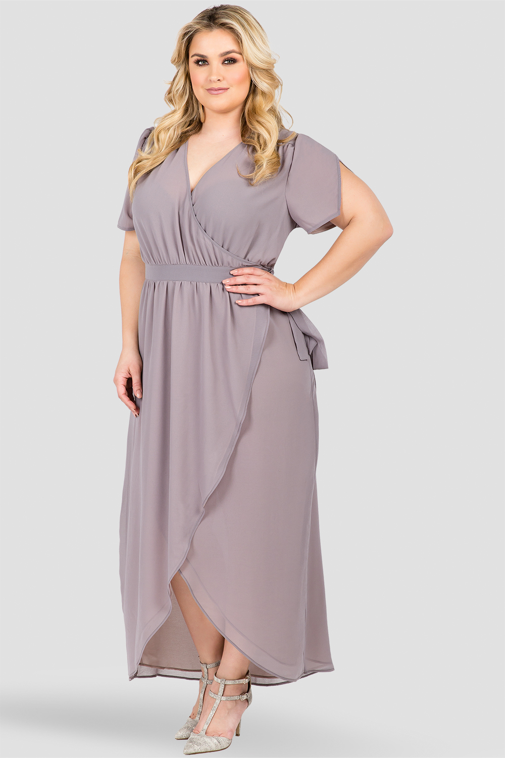 Plus Size Smoke Gray V-Neck Maxi Dress