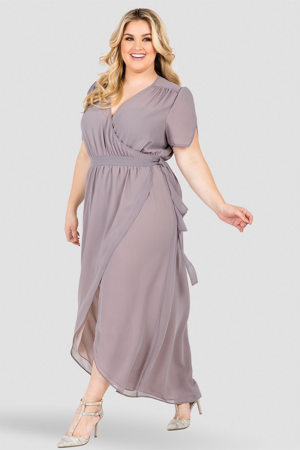 Standards & Practices Women's Plus Size Short Sleeve V-Neck Maxi Dress