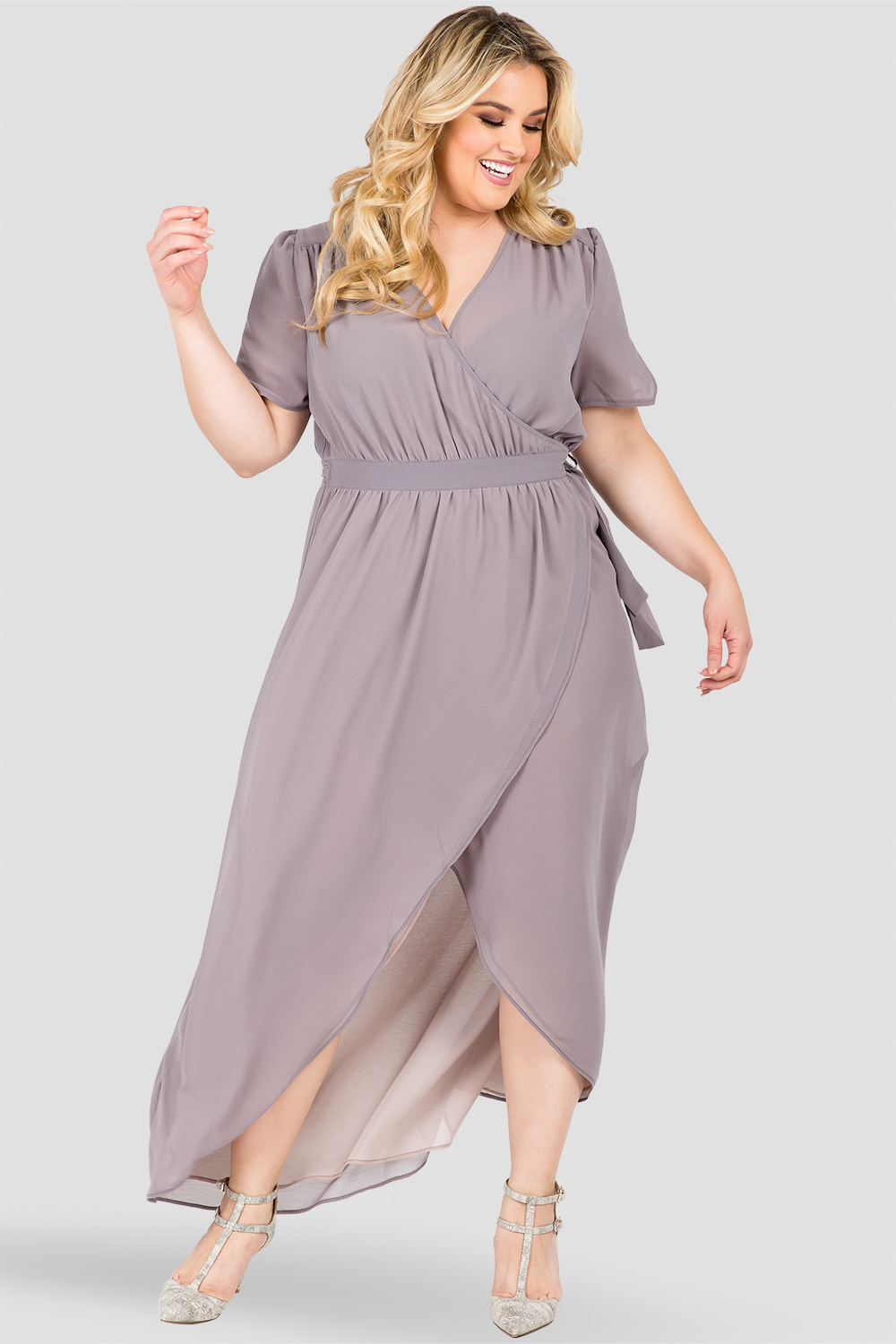 Plus Size Robin Short Sleeve V-Neck Maxi Dress Smokey Grey And Mauve