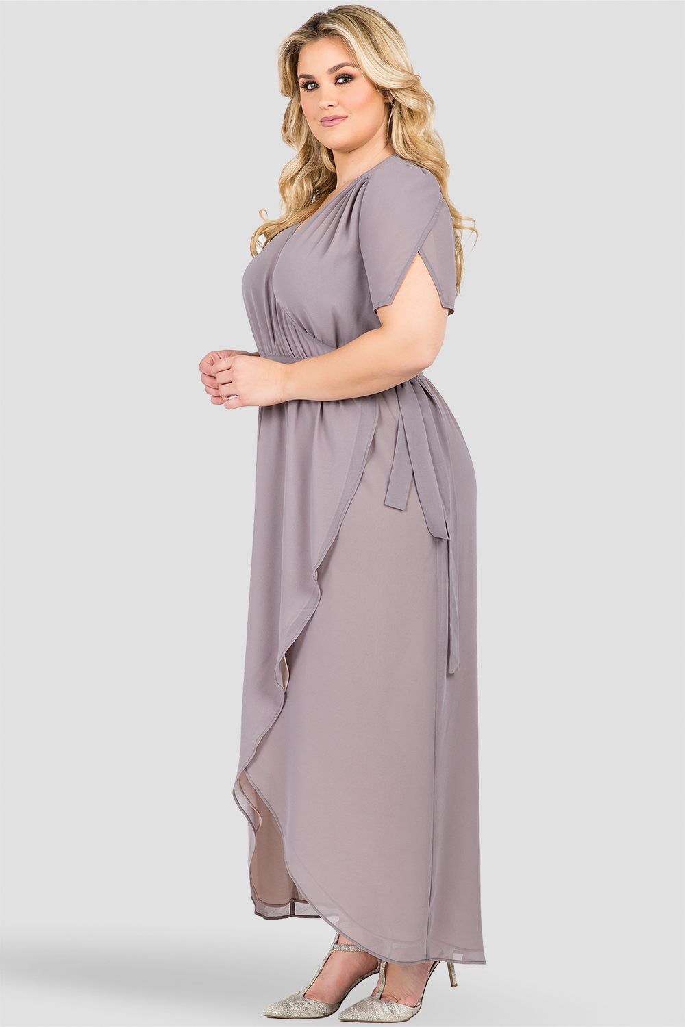 Plus Size Deep Grey Short-Sleeve Maxi Wrap Dress