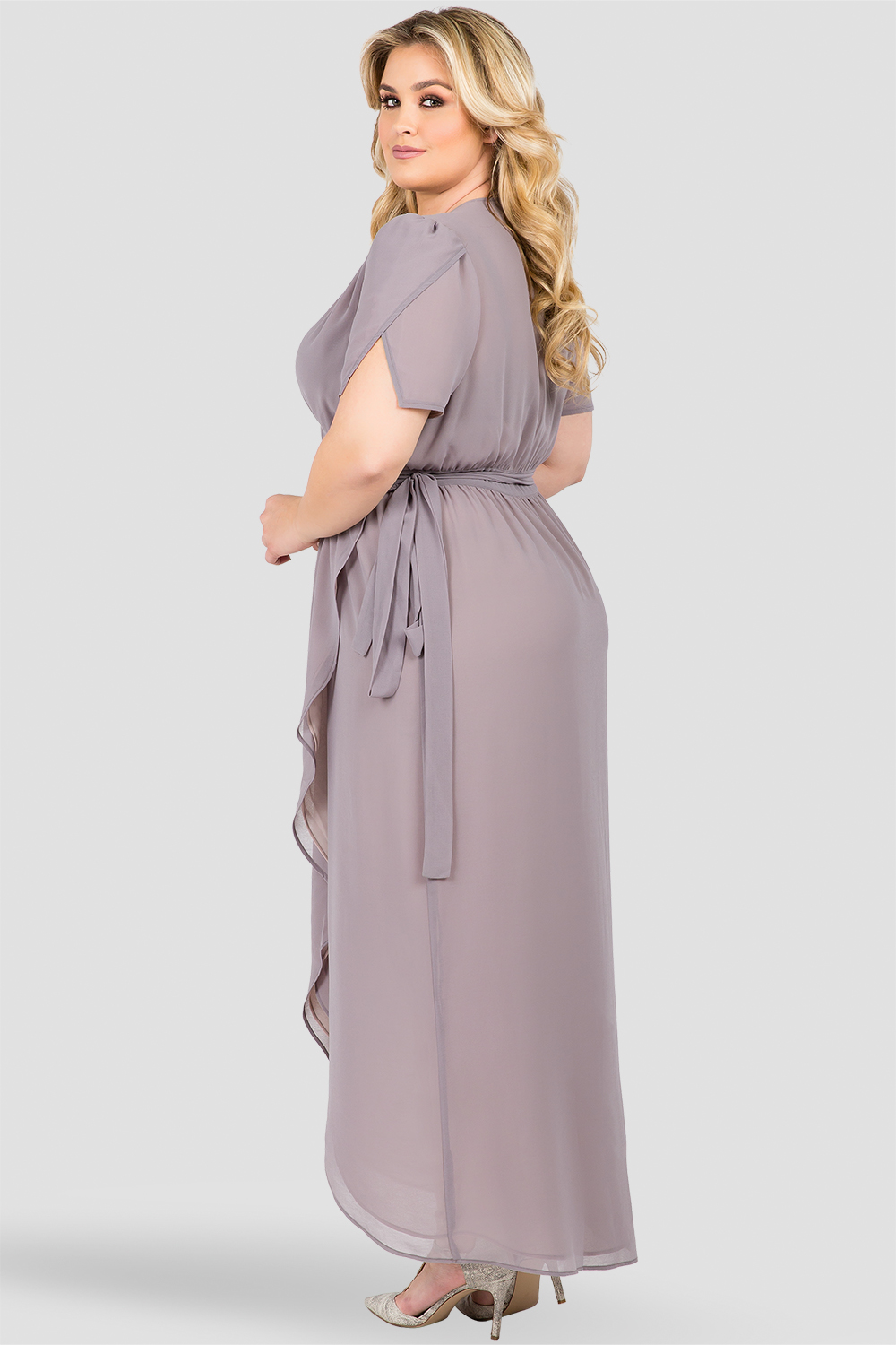 Plus Size Dark Gray Short Sleeve Wrap Maxi Dress