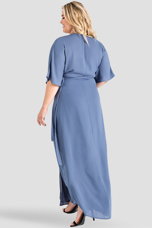 Plus Size Slate Blue Floral Chiffon Kimono Maxi Dress