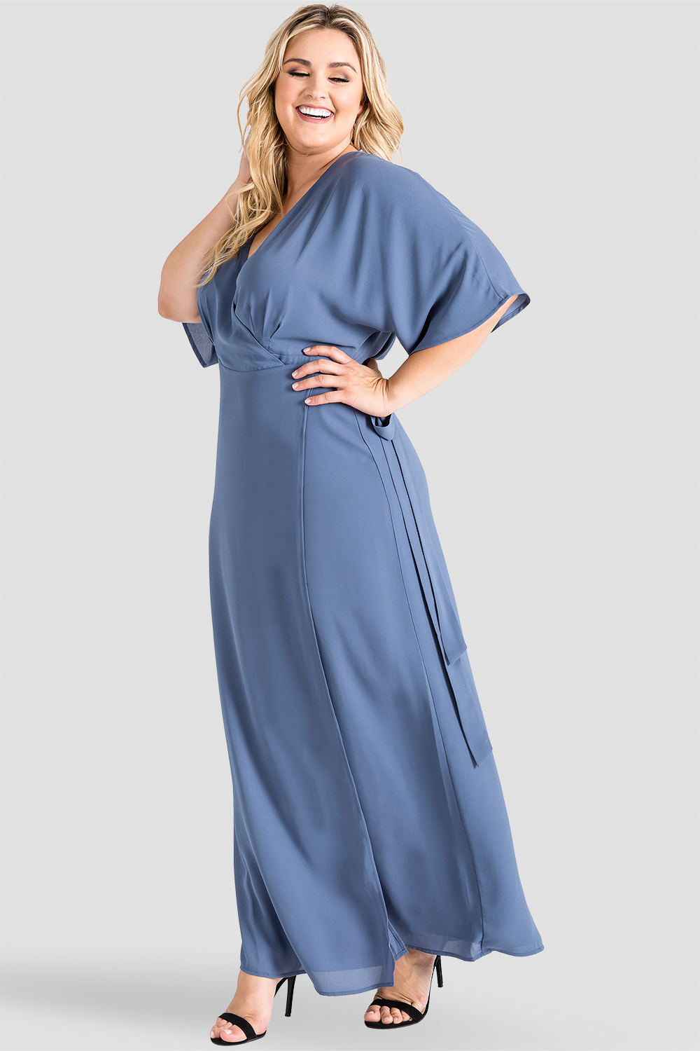 Plus Size Standards & Practices Slate Blue Chiffon Kimono Wrap Maxi Dress