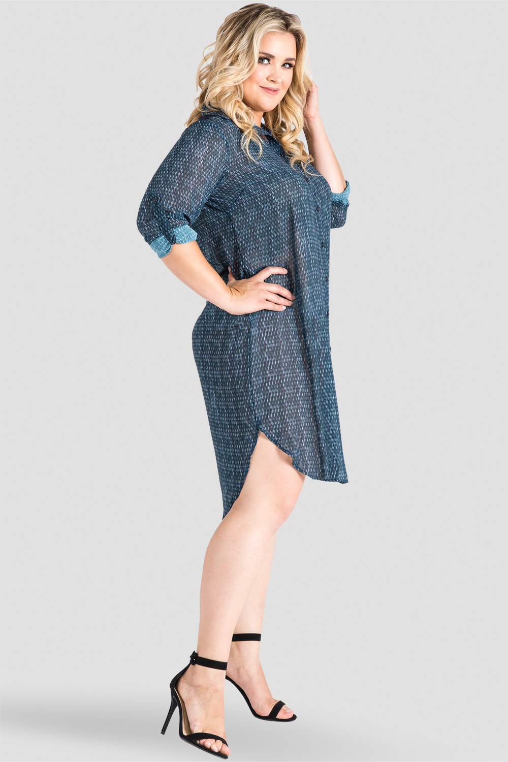 2e22bb75e205 Plus Size Standards & Practices Gray Snakeskin Print Chiffon Shirtdress  with Sheer Back. now. 1/6