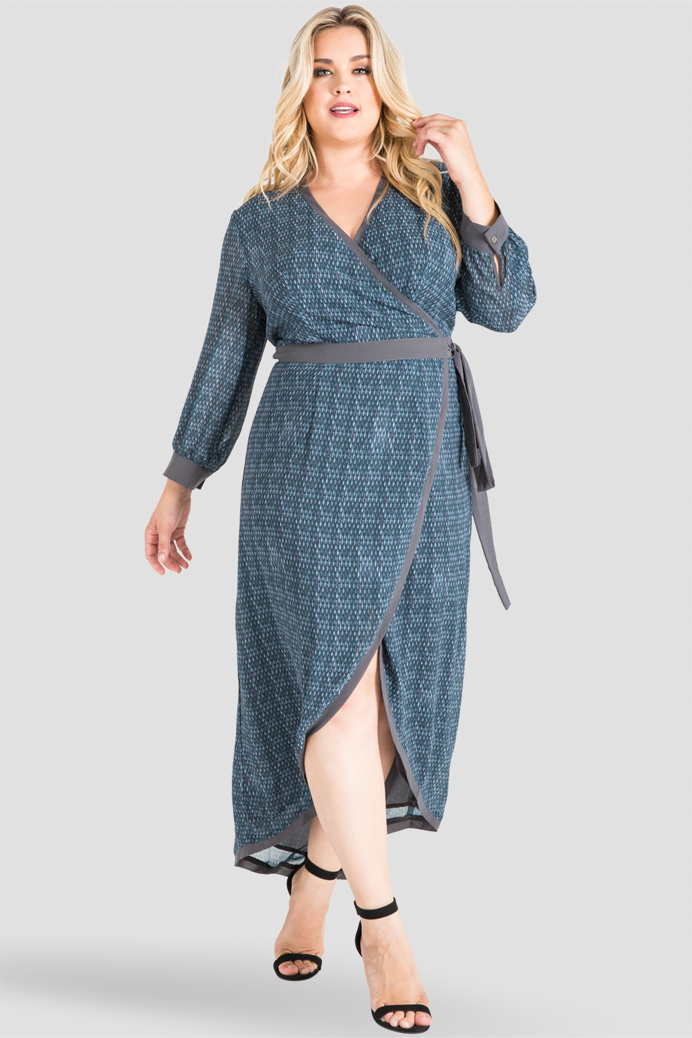 08fe92ae546 Plus Size Standards   Practices Gray Snakeskin High-Low Maxi Wrap Dress.  now. 1 5