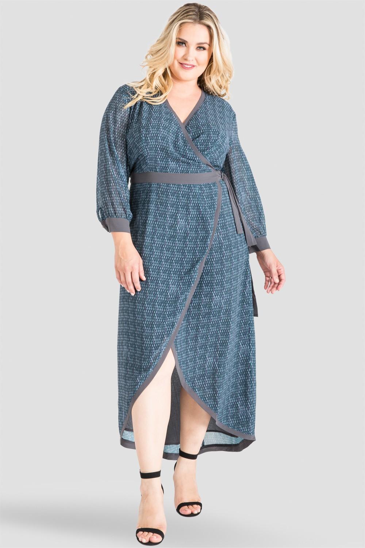 Plus Size Elle Snakeskin Print Tulip High Low Wrap Chiffon Dress