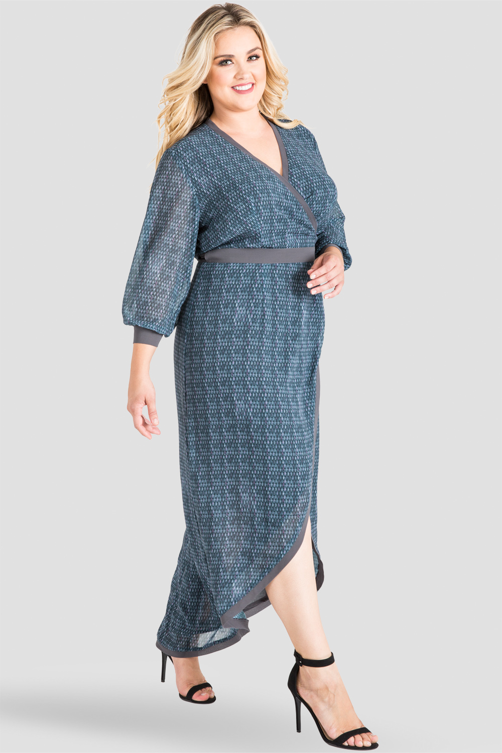 Plus Size, Women's Standards & Practices Gray Snakeskin Print High-Low Maxi Wrap Dress
