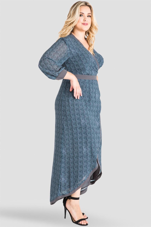 Plus Size, Standards & Practices Standards & Practices Women's Gray Snakeskin Print V-Neck Kimono High-Low Maxi Wrap Dress