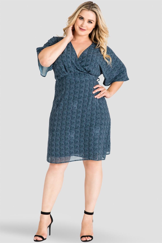 Plus Size Gray Snakeskin Print Chiffon Knee Length Kimono Wrap Dress