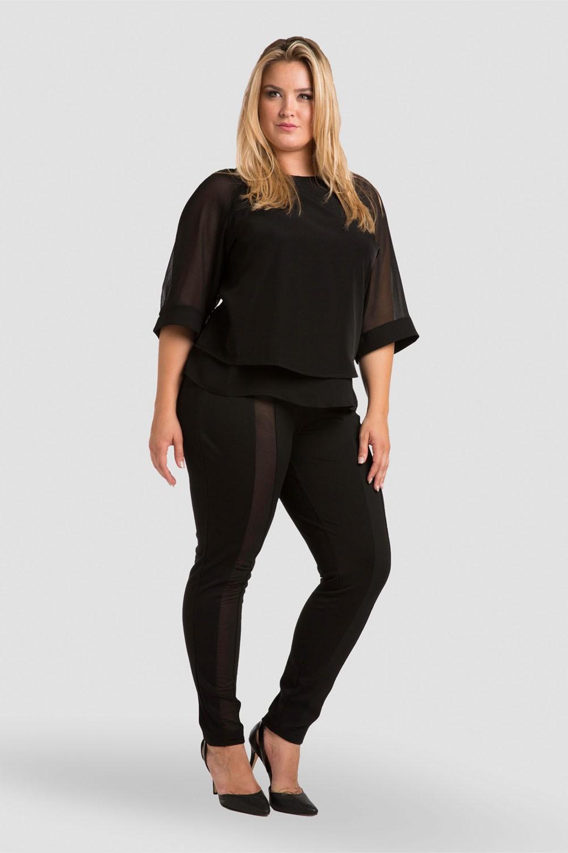 Plus Size Sheer Layered Milla Chiffon Skimmer Top