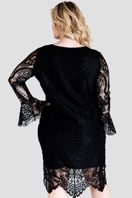 Plus Size Alison Black Lace Flare Sleeve Shirt