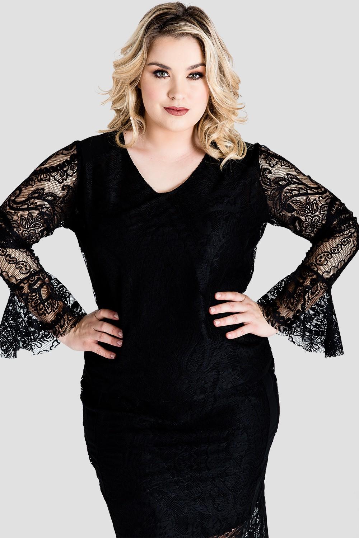 Plus Size Black Lace Flare Sleeve Women's Shirt
