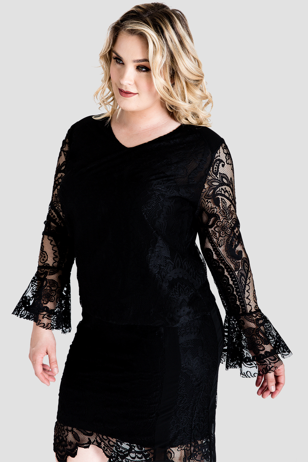 Plus Size Standards & Practices Women's Black Lace Flare Sleeve Shirt