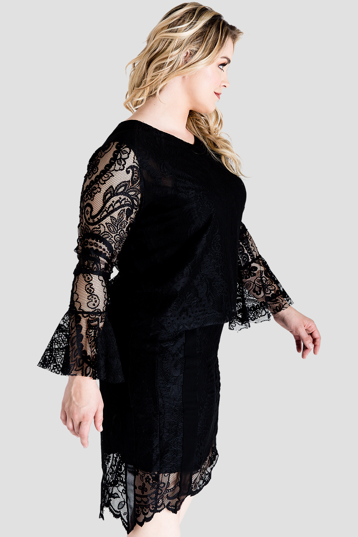 Plus Size Women's Black Lace Flare Sleeve Shirt