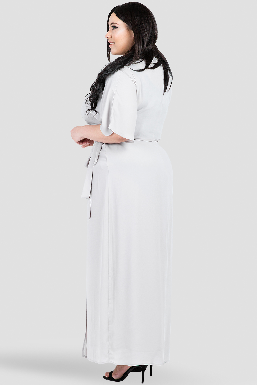 Plus Size Gray Print Short Sleeve Wrap Maxi Dress