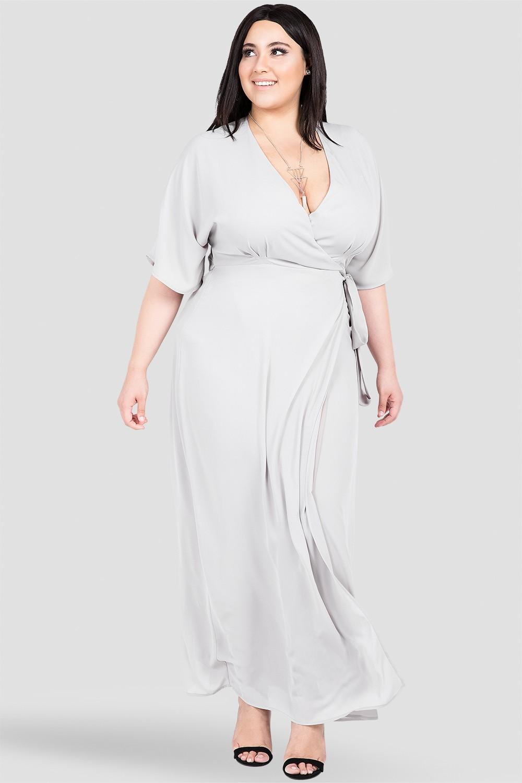 Plus Size Smoke Grey Print Long Wrap Dress