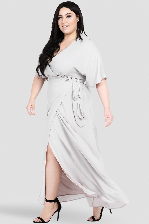 Plus Size Dark Grey Kimono Wrap Maxi Dress