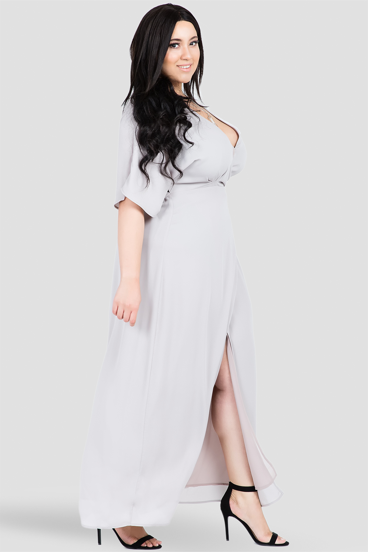 Plus Size Olivia Woven GGT Light Gray Print Kimono Wrap Maxi Dress Side