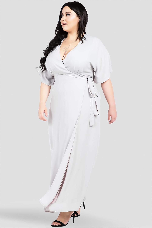 Plus Size Gray Kimono Wrap Maxi Dress