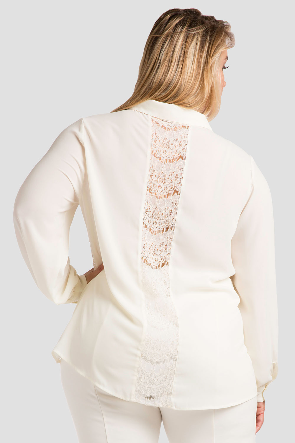 Plus Size Ivory Lace Collared Top