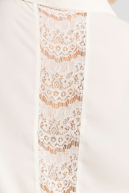 Plus Size Ivory Women's Button-Up Lace Shirt