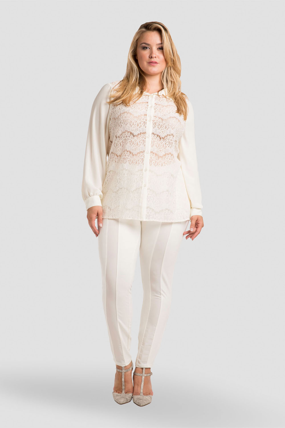 Plus Size Women's Ivory Collared Shirt Lace