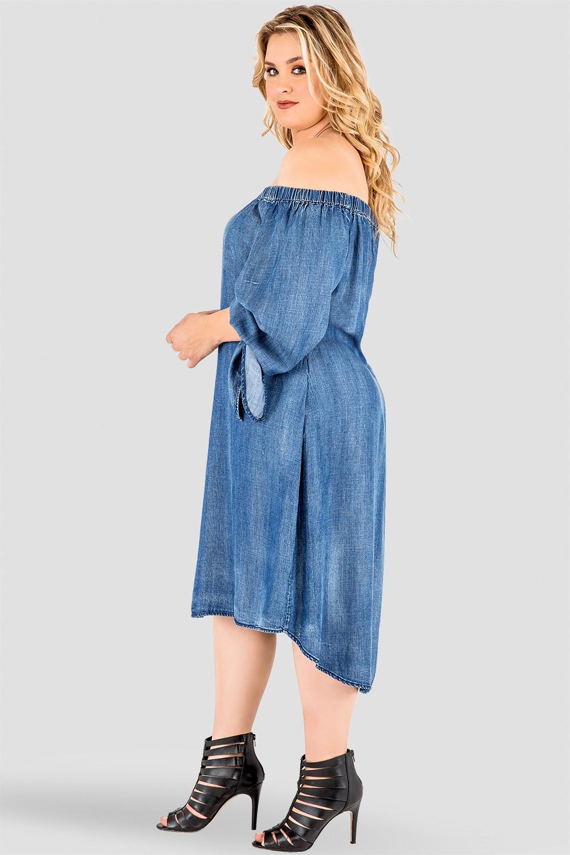 Plus Size Julie Denim Tencel Off-The-Shoulder Peasant Dress
