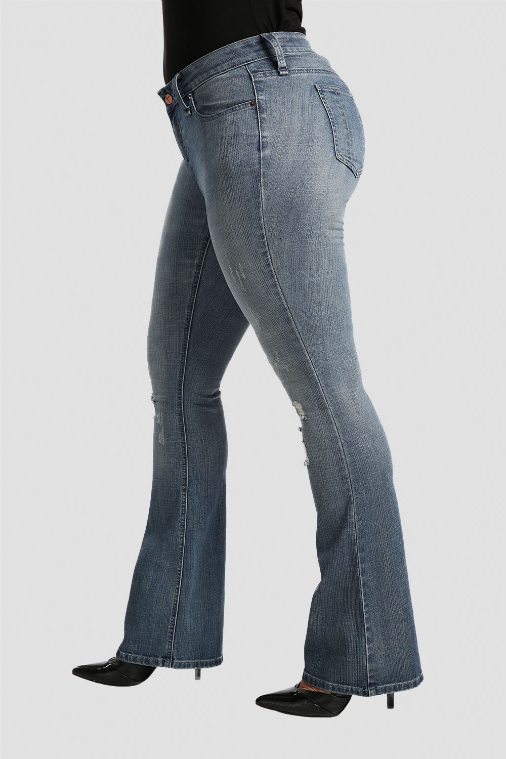 Plus Size Clarice Stretch Woven Boy Toy Midrise Bootcut Jeans