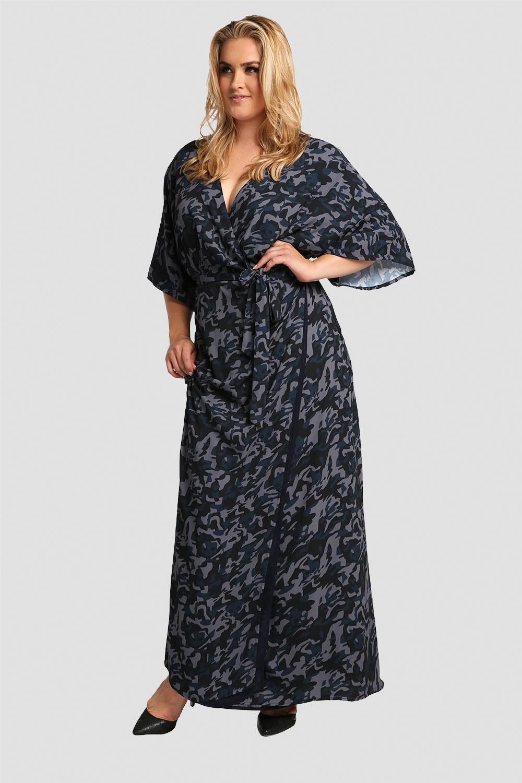 Plus size Wrap Dress in Blue Camo Kimono Sleeve & Cinched Waist