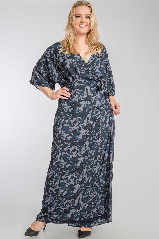 Plus Size Olivia Woven Chiffon Camo Print Kimono Wrap Maxi Dress