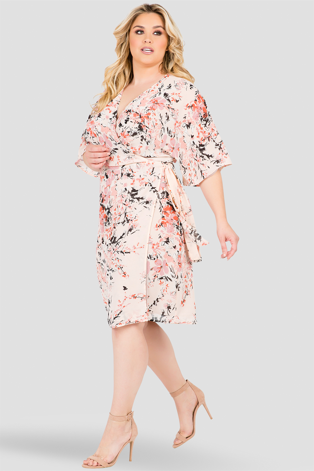 Plus Size Candice V-Neck Kimono Wrap Midi Dress Peach Pink Floral Print