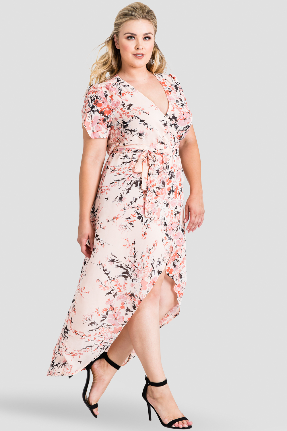 top-rated discount On Clearance recognized brands Plus Size Robin Short Sleeve V-Neck Peach Pink Floral Print Maxi Dress