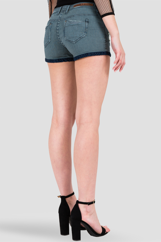 Women Dark Blue Stripped Cuffed Denim Shorts