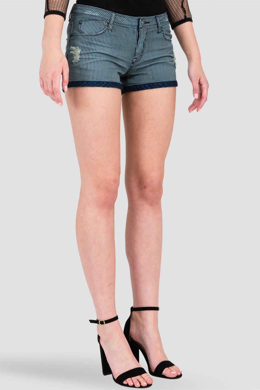 Women Stretch Denim Stripe Shorts