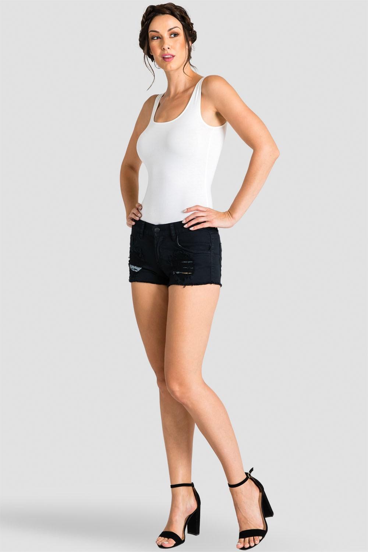 Women's Destroyed Black Denim Shorts