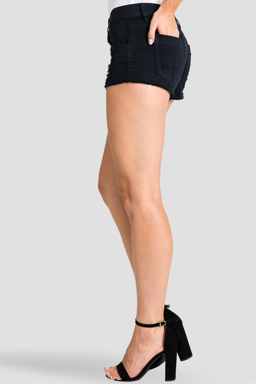 Women Black Raw Edge Denim Shorts
