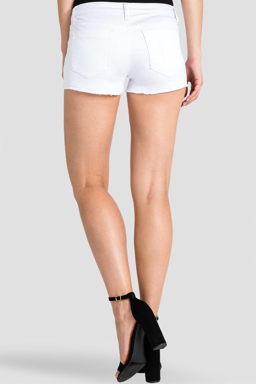 Women White Raw Edge Denim Shorts