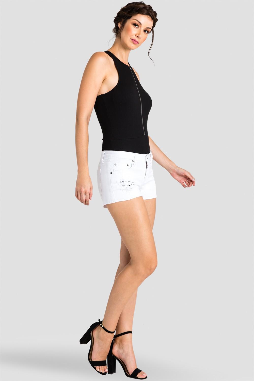Women White Fray Denim Shorts