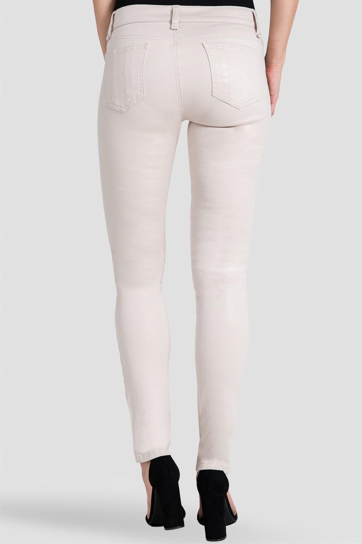Women Beige Coated Snake Denim Jeans