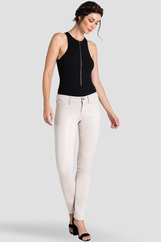 Women Beige Coated Snake Skinny Jeans