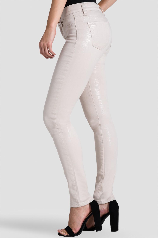 Women Beige Coated Snake Skin Denim Jeans