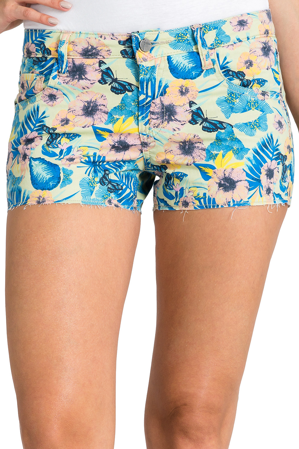 women's multi-colored tropical floral shorts