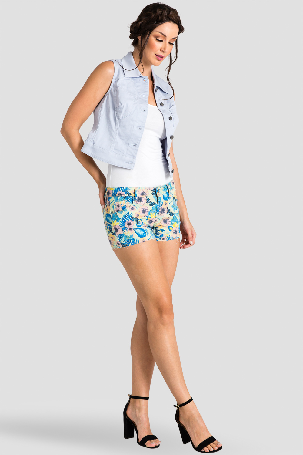 womens electric floral shorts