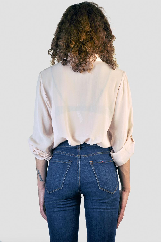 Women Rose Button Down Silk Blouse