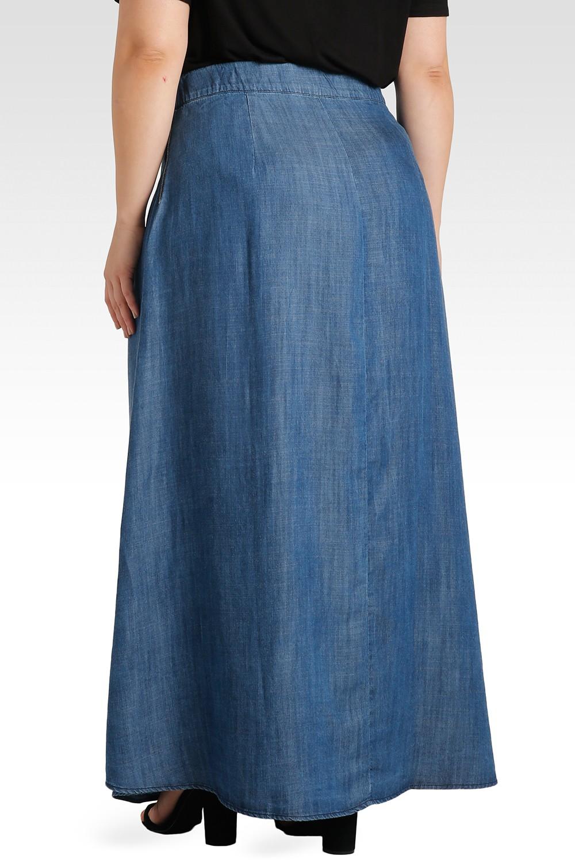 Plus Size Zalena High-Waisted Tencel Denim A-Line Maxi Skirt